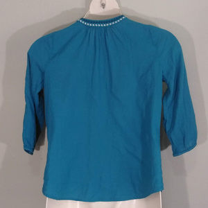 St. John's Bay Tops - Teal Cotton Embroidered Top
